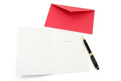 Greeting card and red envelope Royalty Free Stock Photos