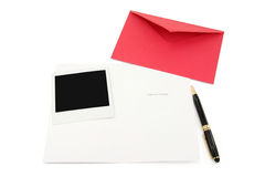 Greeting card and red envelope Royalty Free Stock Images