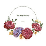 Greeting Card with red flower in the garden,  illustration , circle label Stock Images