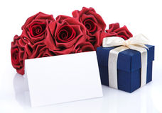 Greeting card with red flowers and gift box Royalty Free Stock Image