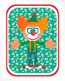 Greeting card with red head clown Stock Photography