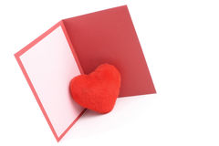 Greeting card and red heart Stock Photo