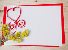 Greeting card with a red heart and space for text ba Royalty Free Stock Photography