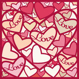 Greeting card of red hearts. Royalty Free Stock Photography