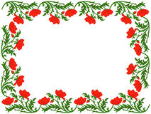 Greeting card with red poppies Royalty Free Stock Images