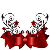 Greeting card with red ribbon Stock Photos