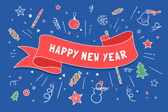 Greeting card with red ribbon and Happy New Year. Greeting card with red ribbon in Christmas theme with inscription Happy New Year. Christmas and Happy New Year vector illustration