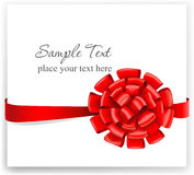 Greeting card with a red ribbon Stock Photography