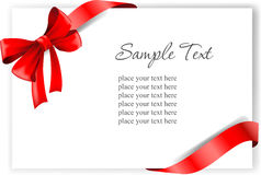 Greeting card with a red ribbon Stock Image