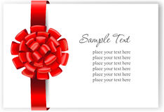 Greeting card with a red ribbon Royalty Free Stock Images