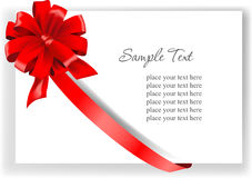 Greeting card with a red ribbon Stock Photos