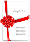 Greeting card with a red ribbon. Vector illustration Stock Photo