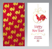 Greeting card with Red Rooster symbol of 2017. Vector greeting card with illustration of rooster, symbol of 2017 on the Chinese calendar.Silhouette of red cock Stock Image