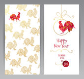 Greeting card with Red Rooster symbol of 2017. Vector greeting card with illustration of rooster, symbol of 2017 on the Chinese calendar.Silhouette of red cock Royalty Free Stock Photo