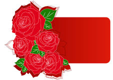 Greeting card with red roses Royalty Free Stock Images