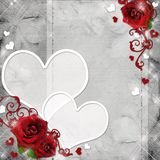 Greeting card with red roses and hearts Stock Photos