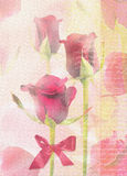 Greeting card with red roses and text on abstract background. Stock Photos