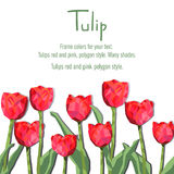 Greeting card with red tulips. Polygon style flowers Stock Photo