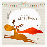 Greeting card with reindeer for Merry Christmas. Stock Photos