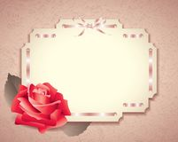 Greeting card in retro style with rose Royalty Free Stock Photos