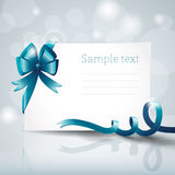 Greeting card with ribbon and bow Royalty Free Stock Images
