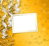 Greeting card with ribbons on a beautiful background Stock Image