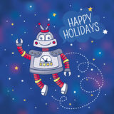 Greeting card with a robot Royalty Free Stock Photo