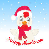 Greeting card with a rooster in a Santa Claus hat and a scarf. Hand inscription Happy New Year.  Stock Photos
