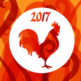 Greeting card with rooster symbol of 2017 by Chinese calendar.  Stock Photos