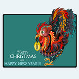 Greeting card with a rooster. Symbol 2017. Happy New Year and Me. Rry Christmas. - the Stock vector Royalty Free Stock Images