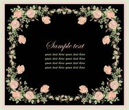 Greeting card with rose. Beautiful decorative fram Royalty Free Stock Photo