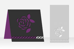 Greeting card with rose flower laser cutting. Silhouette design. Royalty Free Stock Photo