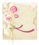 Greeting card with rose flower on paper Stock Photos