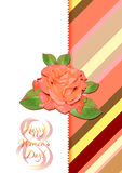 Greeting card with rose on red striped floral pattern for International Women's Day. March 8 Royalty Free Stock Photo
