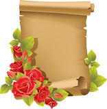 Greeting card with rose and scroll - vertical Royalty Free Stock Photo