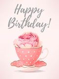 Greeting card with rose in teacup. Vector greeting card with beautiful english rose in teacup Stock Photography
