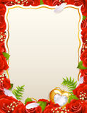 Greeting card with roses. Feathers and jewelry in the shape of heart Royalty Free Stock Images