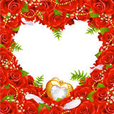 Greeting card with roses. Feathers and jewelry in the shape of heart Stock Images