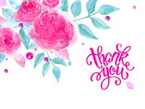 Greeting card with roses. Handwritten note, thank you-2. Postcard with roses and the inscription thank you. Watercolor illustration in shades of pink. Basis for Stock Images