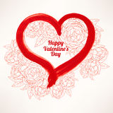 Greeting card with roses and heart Stock Photo