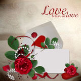 Greeting card with roses and hearts Stock Photo