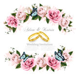 Greeting card with roses,invitation card for wedding. Stock Photo