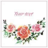 Greeting card with roses. Stock Images