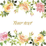 Greeting card with roses. Stock Photography