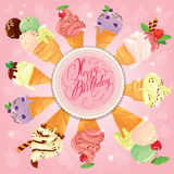 Greeting card with round frame and ice cream cones on pink backg Royalty Free Stock Image