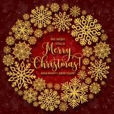 Greeting card with round frame with snowflakes and golden text on a red background. Glitter phrase Merry Christmas and happy new year Bright snowflakes frame Royalty Free Stock Image