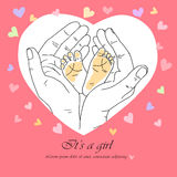 Greeting card it`s a girl Stock Photo