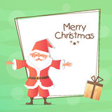 Greeting Card with Santa for Christmas celebration. Stock Photo