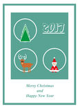 Greeting card with Santa Claus, christmas tree, deer and 2017 Stock Photo