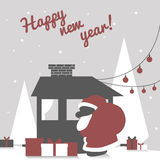 Greeting card with santa claus silhouette and. Greeting card in modern laconic flat style with santa claus silhouette and happy new year wish Stock Photo